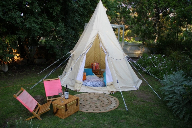 Teepee glamping backyard