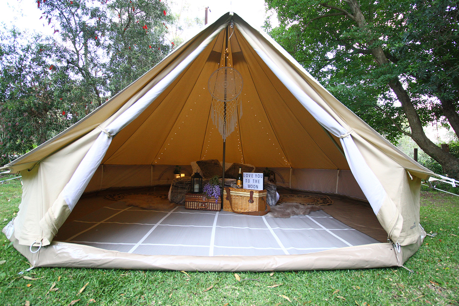Luxury glamping bell tent