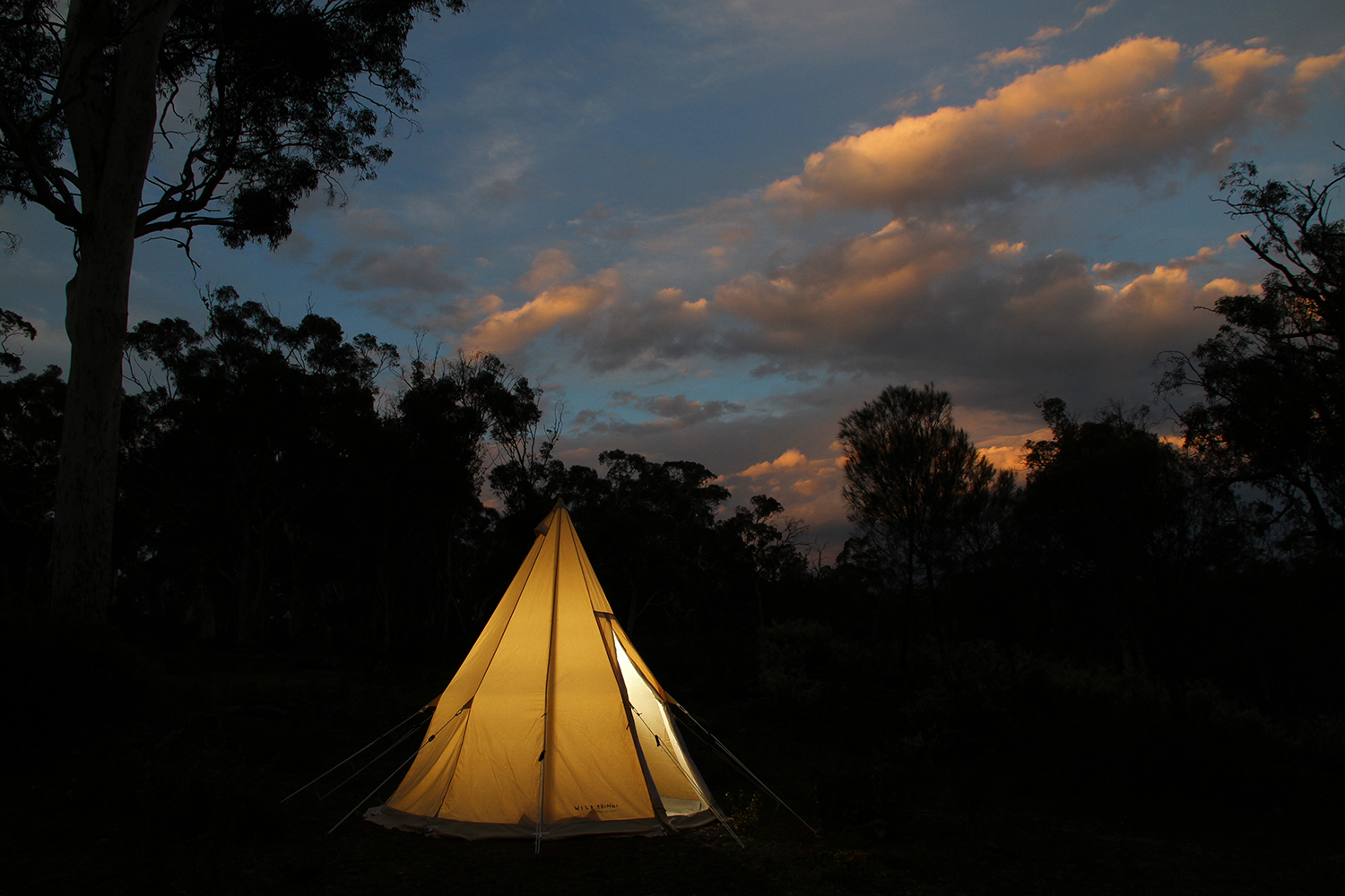 Teepee glamping sunset
